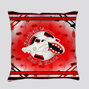 Red and Black Football Soccer Everyday Pillow