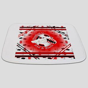 Red and Black Football Soccer Bathmat