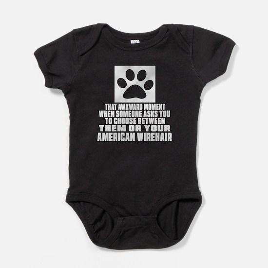 Awkward American Wirehair Cat Design Baby Bodysuit