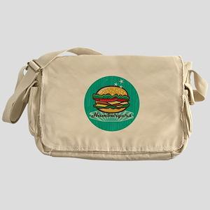 Retro 1950s Diner Hamburger Circle Messenger Bag