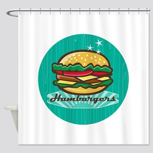 Retro 1950s Diner Hamburger Circle Shower Curtain