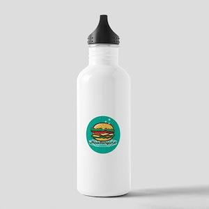Retro 1950s Diner Hamburger Circle Water Bottle