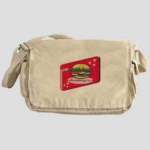 Retro 1950s Diner Hamburger Sign Messenger Bag