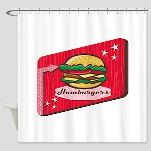 Retro 1950s Diner Hamburger Sign Shower Curtain