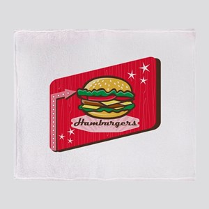 Retro 1950s Diner Hamburger Sign Throw Blanket