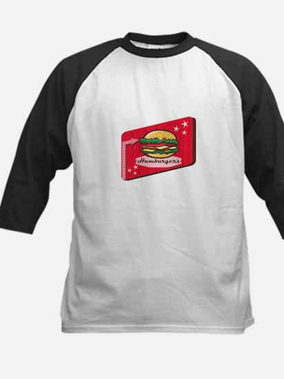 Retro 1950s Diner Hamburger Sign Baseball Jersey