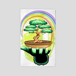 Bonsai Tree and Rainbow on Green Hand Area Rug