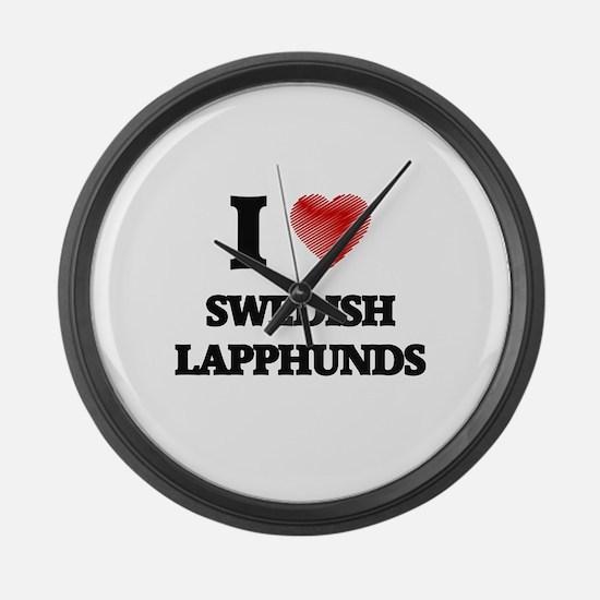 I love Swedish Lapphunds Large Wall Clock
