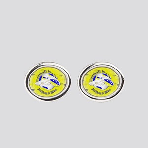 Blue and Yellow Football Soccer Oval Cufflinks