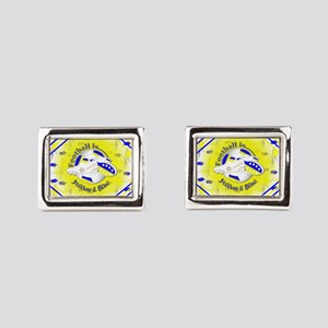 Blue and Yellow Football Soc Rectangular Cufflinks