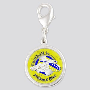 Blue and Yellow Football Socce Silver Round Charm
