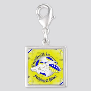 Blue and Yellow Football Socc Silver Square Charm