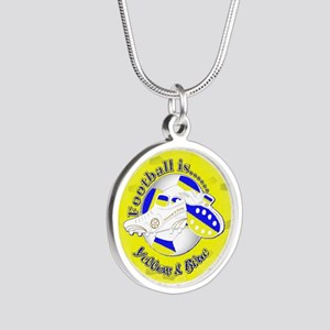 Blue and Yellow Football Soc Silver Round Necklace