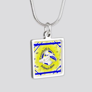 Blue and Yellow Football S Silver Square Necklace