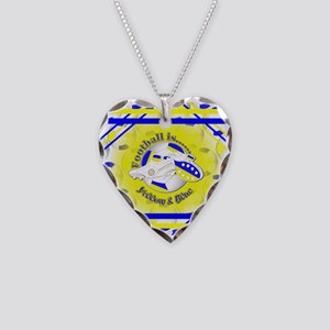 Blue and Yellow Football Socc Necklace Heart Charm