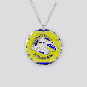 Blue and Yellow Football Soc Necklace Circle Charm