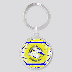 Blue and Yellow Football Soccer Round Keychain