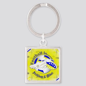Blue and Yellow Football Soccer Square Keychain