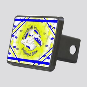 Blue and Yellow Football S Rectangular Hitch Cover