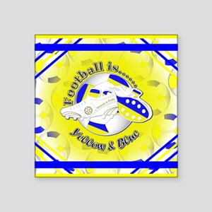 """Blue and Yellow Football So Square Sticker 3"""" x 3"""""""
