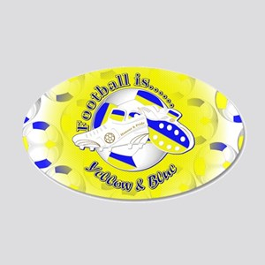 Blue and Yellow Football Soc 20x12 Oval Wall Decal