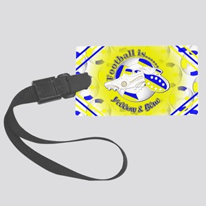 Blue and Yellow Football Soccer Large Luggage Tag