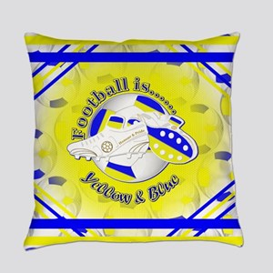 Blue and Yellow Football Soccer Everyday Pillow