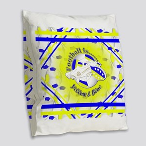 Blue and Yellow Football Socce Burlap Throw Pillow