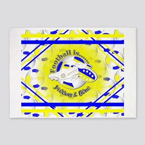 Blue and Yellow Football Soccer 5'x7'Area Rug