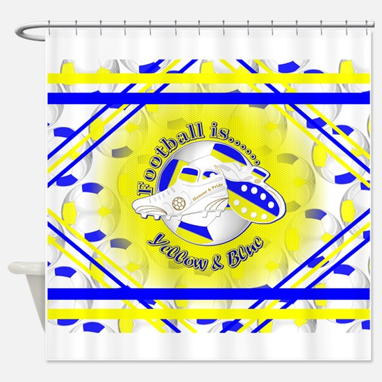 Blue and Yellow Football Soccer Shower Curtain