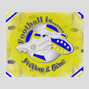 Blue and Yellow Football Soccer Throw Blanket