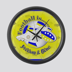 Blue and Yellow Football Soccer Large Wall Clock