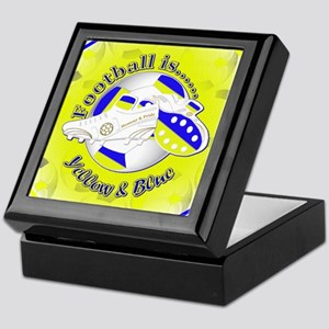 Blue and Yellow Football Soccer Keepsake Box