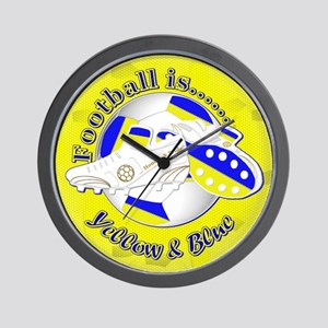 Blue and Yellow Football Soccer Wall Clock