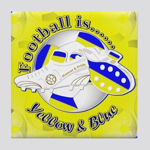 Blue and Yellow Football Soccer Tile Coaster
