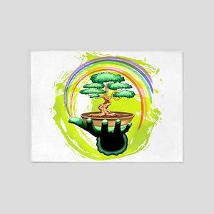 Bonsai Tree and Rainbow on Green Hand 5'x7'Area Ru
