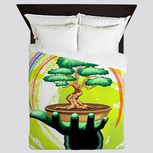 Bonsai Tree and Rainbow on Green Hand Queen Duvet