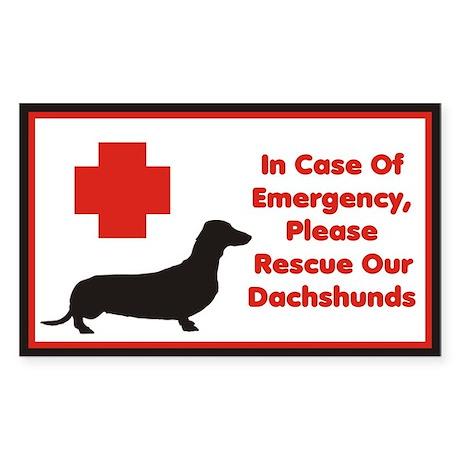 Dachshund Emergency Sticker/Decal