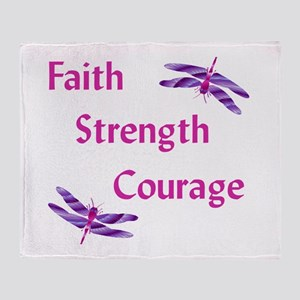 Faith Strength Courage Throw Blanket