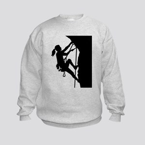 Climbing woman girl Kids Sweatshirt