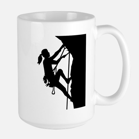 Climbing woman girl Large Mug