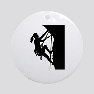 Climbing woman girl Round Ornament