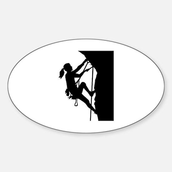 Climbing woman girl Sticker (Oval)