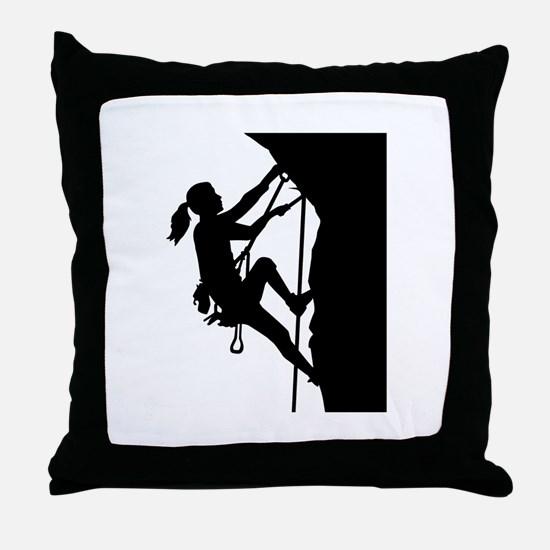 Climbing woman girl Throw Pillow