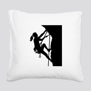 Climbing woman girl Square Canvas Pillow