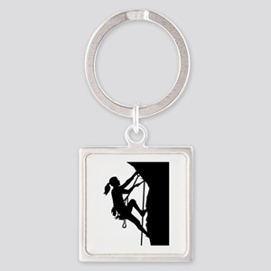 Climbing woman girl Square Keychain