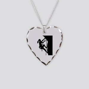 Climbing woman girl Necklace Heart Charm