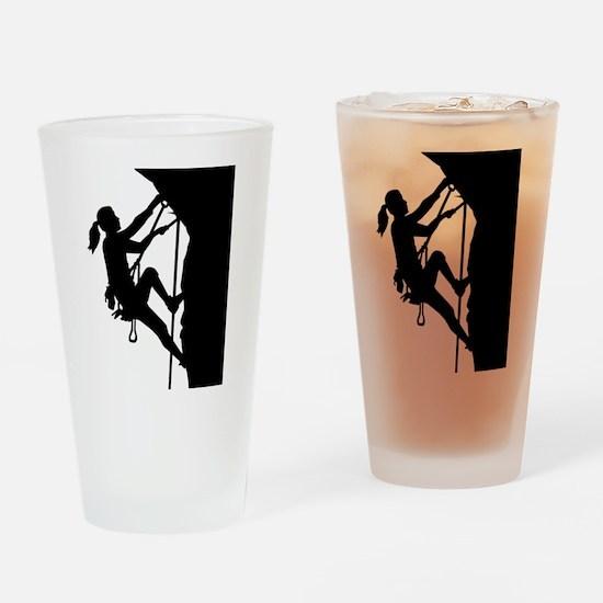 Climbing woman girl Drinking Glass