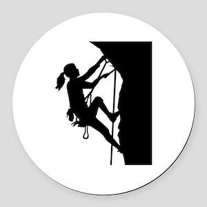 Climbing woman girl Round Car Magnet