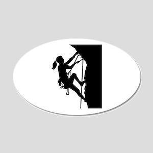 Climbing woman girl 20x12 Oval Wall Decal